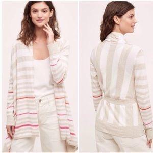moth Anthropologie sweater cream striped cardigan
